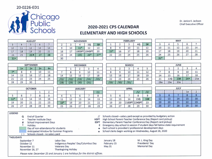 Chicago Public Schools Calendar 2021 Chicago Public Schools 2020 21 Calendar Is Out