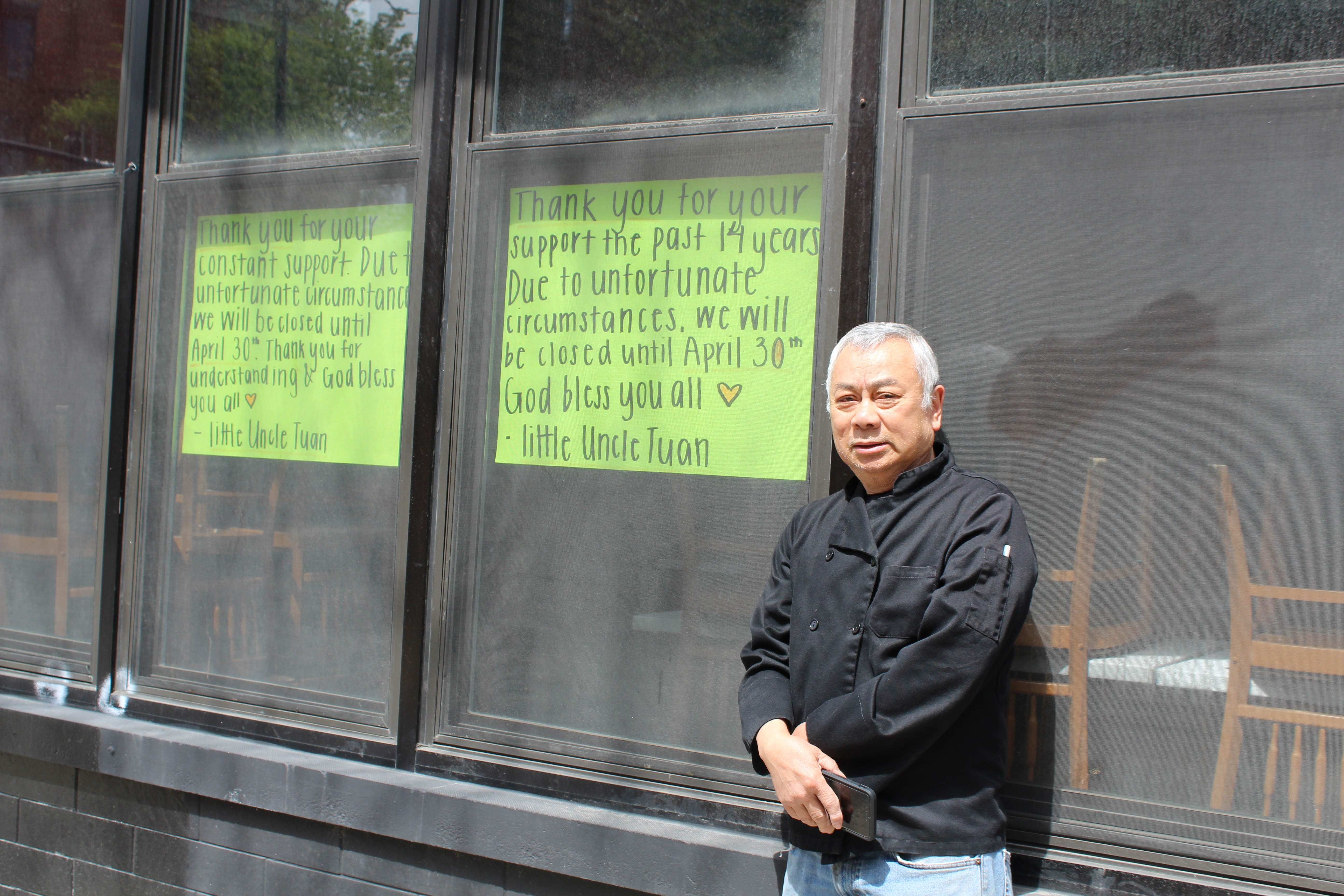 Tuan Nguyen outside of Simply It, a Vietnamese restaurant he opened in Lincoln Park in 2006 that was unable to make it through the coronavirus pandemic.