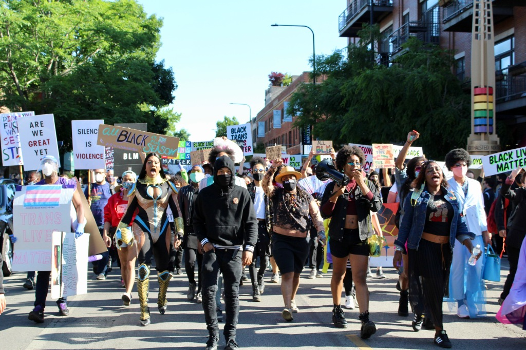 Several Black drag queens, kings and activists lead Sunday's Drag March for Change. | Jake Wittich/Block Club Chicago