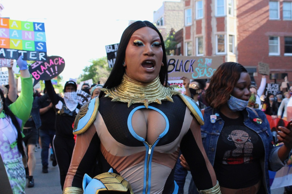 Drag queen Miss Toto marches during Sunday's Drag March for Change. | Jake Wittich/Block Club Chicago