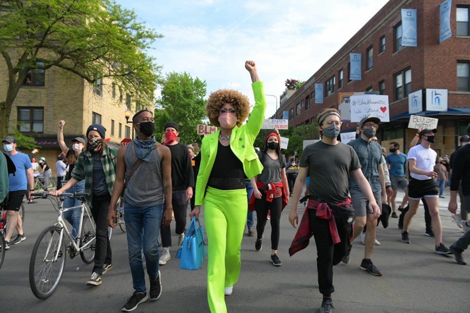 Drag queen Jo Mama, also known as Berlin's bartender Joe Lewis, marches in a June 1 Black Lives Matter protest in Boystown.